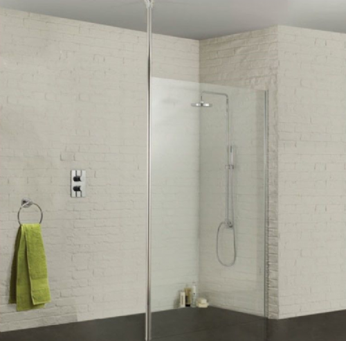 Sommer Wetroom Glass Panel 760mm - Ceiling Pole Option